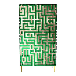 """Green Mirrored Glass """"minosse"""" Cabinet For Sale"""