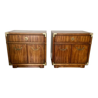 1970's Mid-Century Modern Drexel Heritage Accolade Nightstands - a Pair