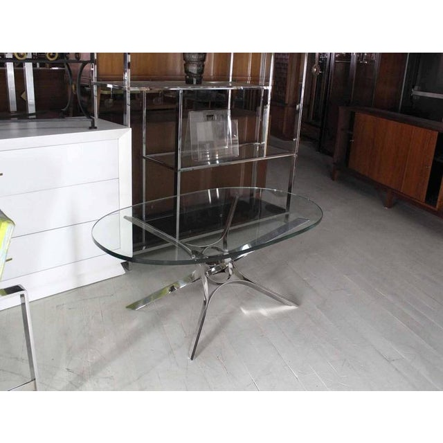 Oval Glass Top Coffee Table With Metal Base: Exceptional Stainless Steel Ribbon Star Sculpture Base