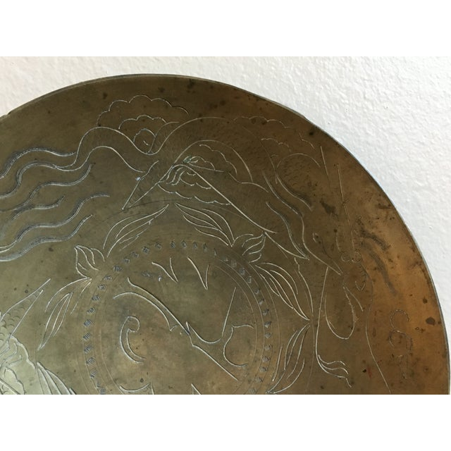 Asian Dragon Etched Brass Tray - Image 6 of 11