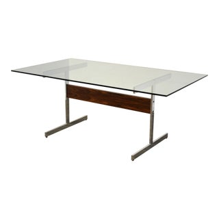 Rosewood & Chrome Dining Table For Sale