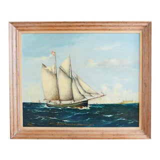 Danish Oil Canvas Painting Signed Sailing Ship For Sale