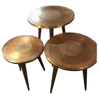 Nest of Three Mid-Century Modern Style Brass Decorative End or Nest of Tables For Sale