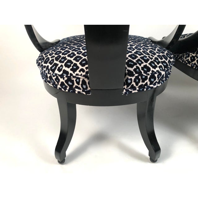 Black Regency Style Spoon Back Chairs-A Pair For Sale - Image 8 of 12