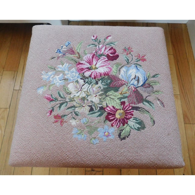 Vintage Petit Point Floral Bench/Table For Sale - Image 9 of 13