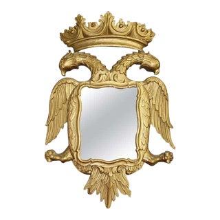 19th Century Rococo Gilt Wood Golden Phoenix Bird Wall Mirror For Sale