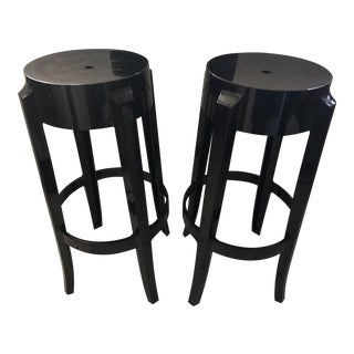 Kartell Philip Starck Black Acrylic Bar Stools - a Pair For Sale