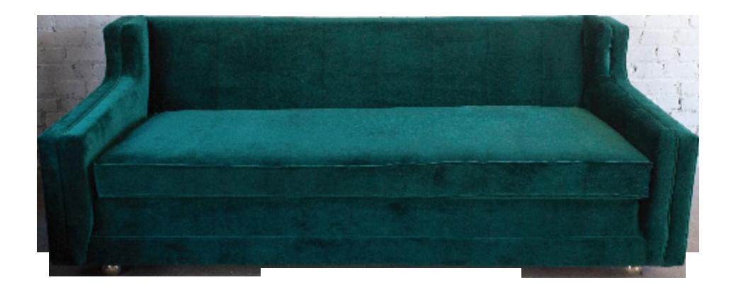 Reupholstered Vintage Green Velvet Sofa