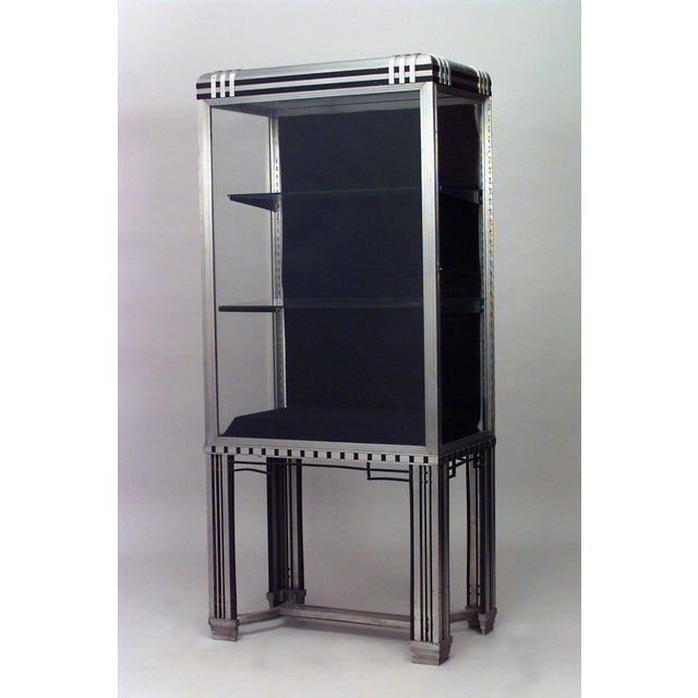 French Art Deco Steel and Glass Vitrine (Display) Cabinet For Sale - Image 4 of 4
