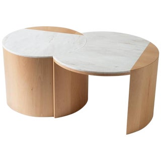 Contemporary Gibbous Coffee Table in European Beech With Witch Hazel Corian. For Sale