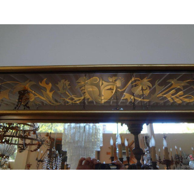 Metal 1940's French Maison Jansen Style Eglomise Mirror For Sale - Image 7 of 9