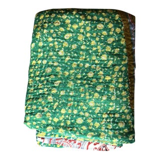 Hand-Stitched Patchwork Kantha Quilt For Sale