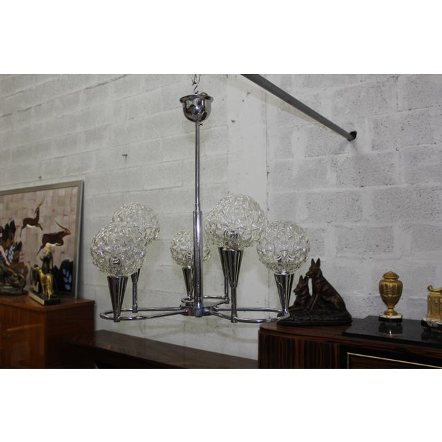 Silver Circa 1960s French Mid Century Six Light Chrome Chandelier For Sale - Image 8 of 11