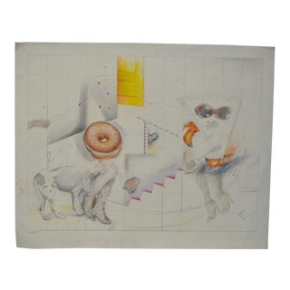 "Shari Lamanet La Londe ""Walking the Dog"" Original Color Pencil on Paper c.1994 For Sale"