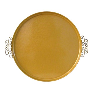 1960s Mid-Century Modern Kyes Moiré Golden Tray For Sale