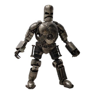 Heavy Gauge Scrap Metal Robot Sculpture For Sale