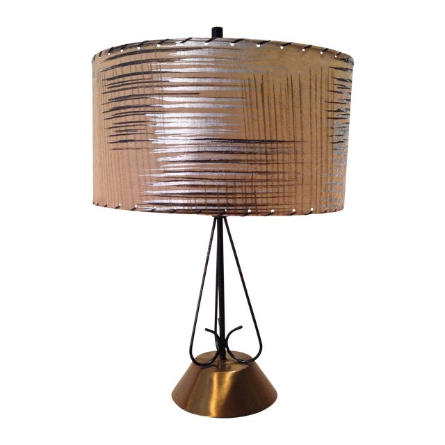 Atomic Era Wire and Brass Table Lamp - Image 1 of 7
