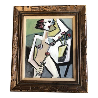 Original Stewart Ross Modernist Female Nude Painting For Sale