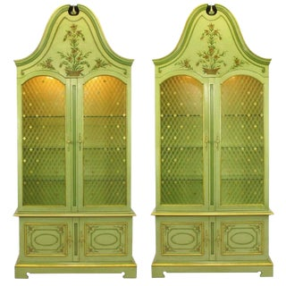 Pair of John Widdicomb Glazed Light Green Tall French Regency Display Cabinets For Sale