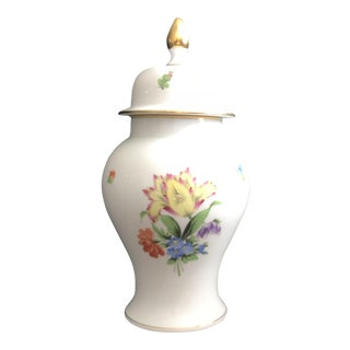 Herend Hand-Painted Gilt Floral Ginger Jar For Sale