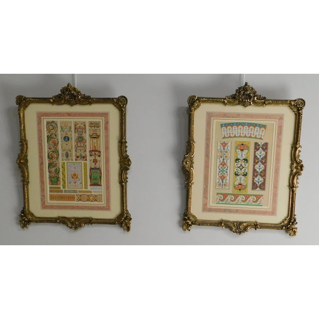 High Quality Vintage Pair of Gilt Wood & Carved Gesso Frames with Custom Decorative Art