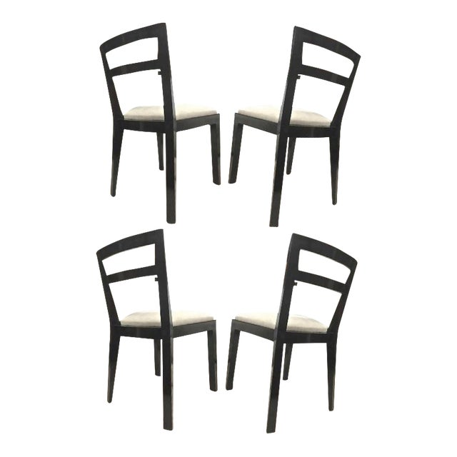 Jean Royère Set of Four Chairs With Tapered Back and Front Legs For Sale