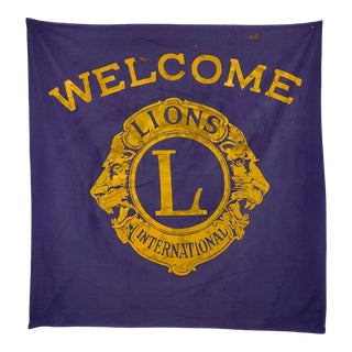 Vintage Lions Club Welcome Banner For Sale