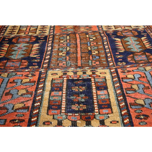 "Antique Bakhtiari Pink and Blue Wool Rug - 5'1"" X 10'4"" For Sale - Image 4 of 7"