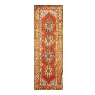 Antique Turkish Oushak Runner With Geometric Diamond Medallions For Sale