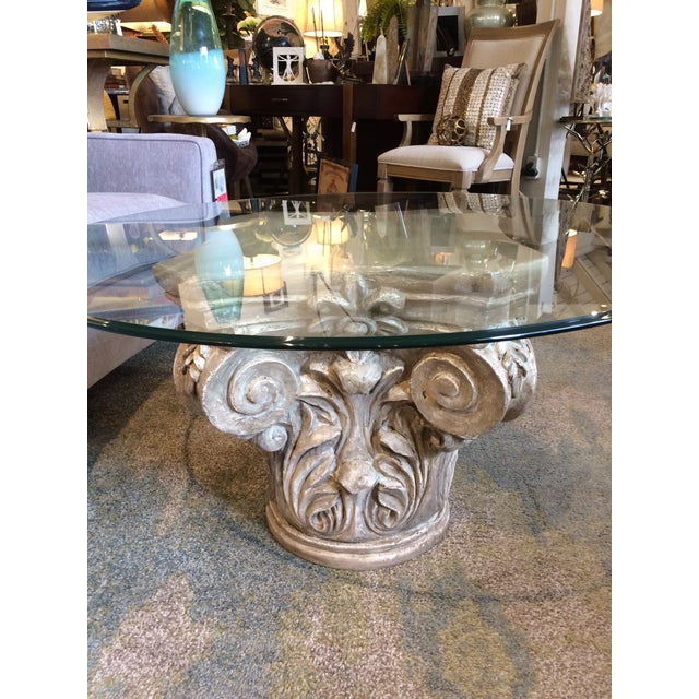"""Love this look! Antiqued pedestal in gray and brown over white.Has 36"""" clear glass topwith soft 'pencel' edge. Classic and..."""