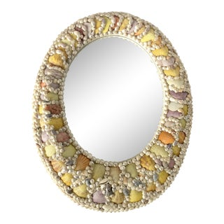 Shell Encrusted Rounded Mirror For Sale