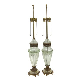 Large Marbro Murano Lamps Glass by Seguso - a Pair For Sale