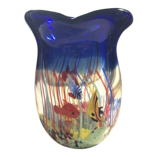 Vintage Six Fish Murano Glass Vase For Sale