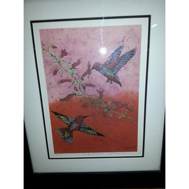 """Marilyn Salomon """"Wings at Dawn"""" Original Batik Print For Sale - Image 4 of 8"""
