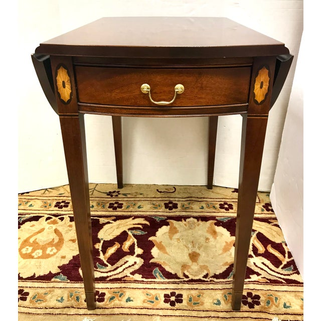 Pair of pembroke one drawer drop-leaf tables work beautifully beside your bed, sofa or favorite chair. Leaves swing up...