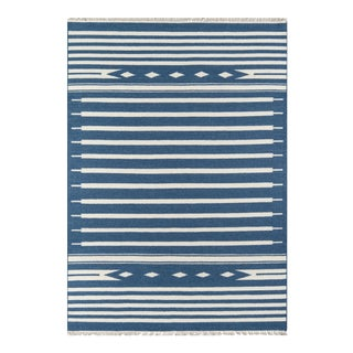 "Erin Gates by Momeni Thompson Billings Denim Hand Woven Wool Area Rug - 5' X 7'6"" For Sale"