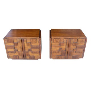 Lane Mid-Century Brutalist Nightstands - A Pair