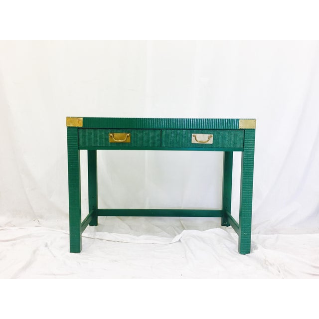 Vintage Mid-Century Campaign Green Desk - Image 6 of 11