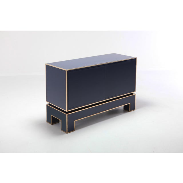 Brass and Blue Two-Door Cabinet Maison Jansen For Sale - Image 6 of 12