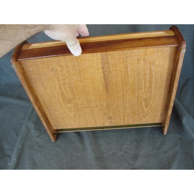 Vintage Teak Roll Top Desk Organizer For Image 9 Of 10