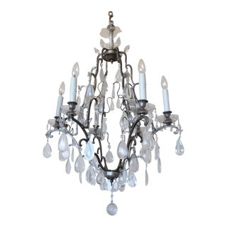 Silvered Bronze French Chandelier For Sale