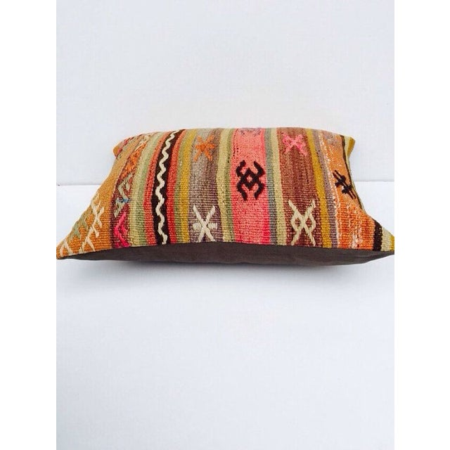 Turkish Orange & Tan Striped Kilim Pillow - Image 3 of 7