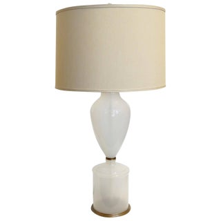 1950s Murano Opaline Table Lamp For Sale