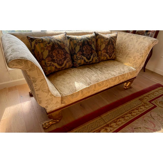 1990s Quatrain Regency Style Giltwood & Mahogany Sofa - Dessin Fournir For Sale - Image 5 of 7