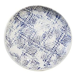 "Yokky Wong ""Knitwork"" Blue & White Porcelain Plate #1 For Sale"
