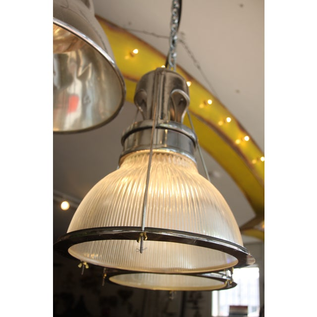 Vintage Holophane Industrial Double Pendant Lights For Sale - Image 5 of 9