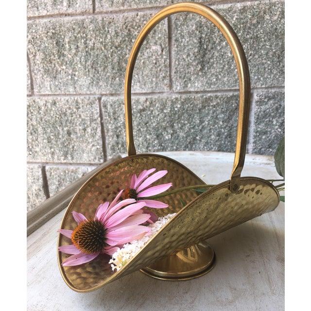Hammered Brass Flower Basket - Image 3 of 8