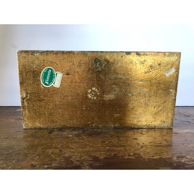 Mid 20th Century Vintage Florentine Green Gilt Tissue Box Cover For Sale - Image 5 of 6