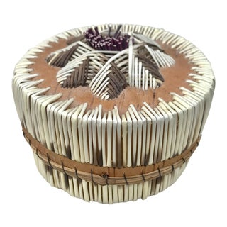 1970s Boho Chic Small Woven Lidded Basket For Sale