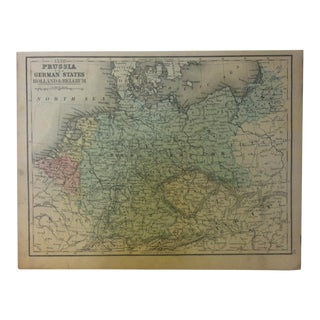 """Antique Mitchell's New School Atlas Map, """"Prussia - the German States"""" by e.h. Butler & Co. Publishers - 1865 For Sale"""